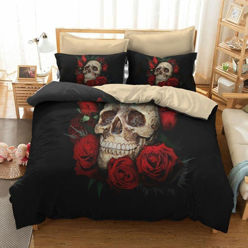 Red Rose Skull Bedding Set - Skullflow