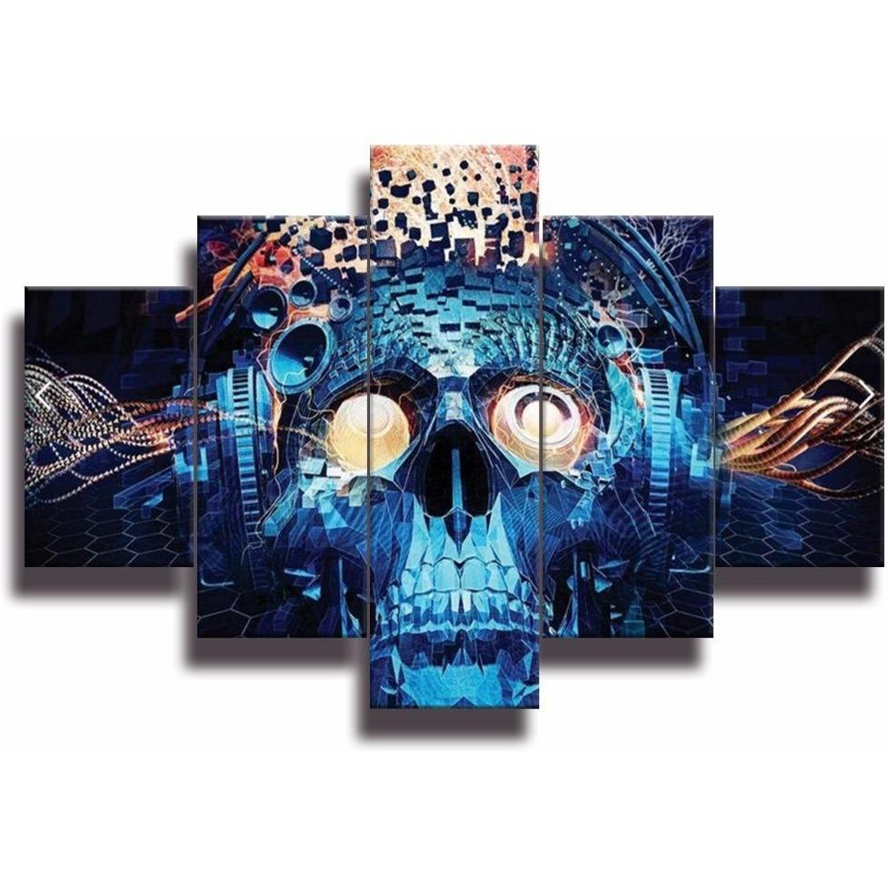 5 Piece Blue Grimace Skull Wall Art Canvas Painting - Skullflow
