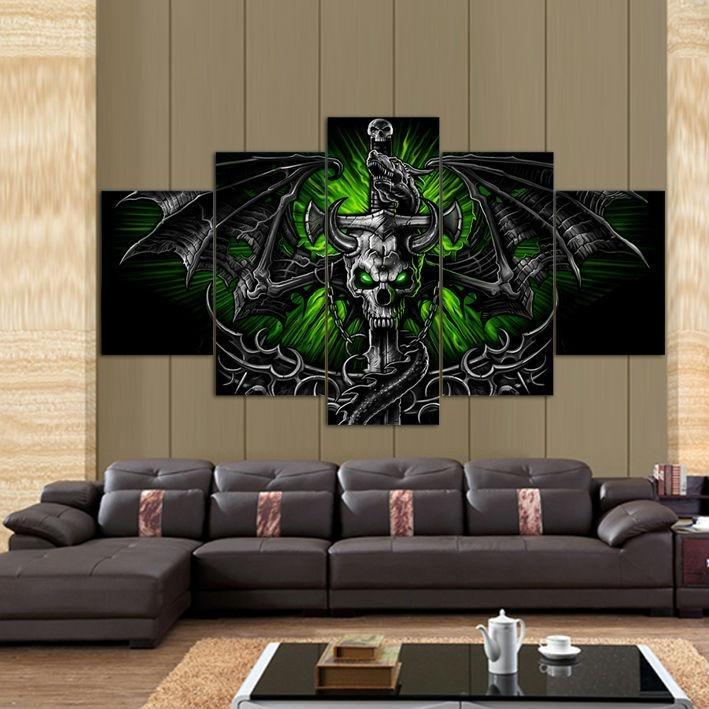 5 Panel Skull Dragon Wall Art Canvas Painting - Skullflow