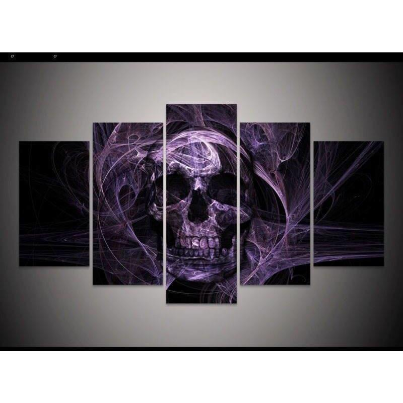 5 Panels HD Purple Skull Wall Art Canvas Painting - Skullflow