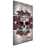 Skull Wall Art Vintage Canvas Painting - 3 Panel - Skullflow