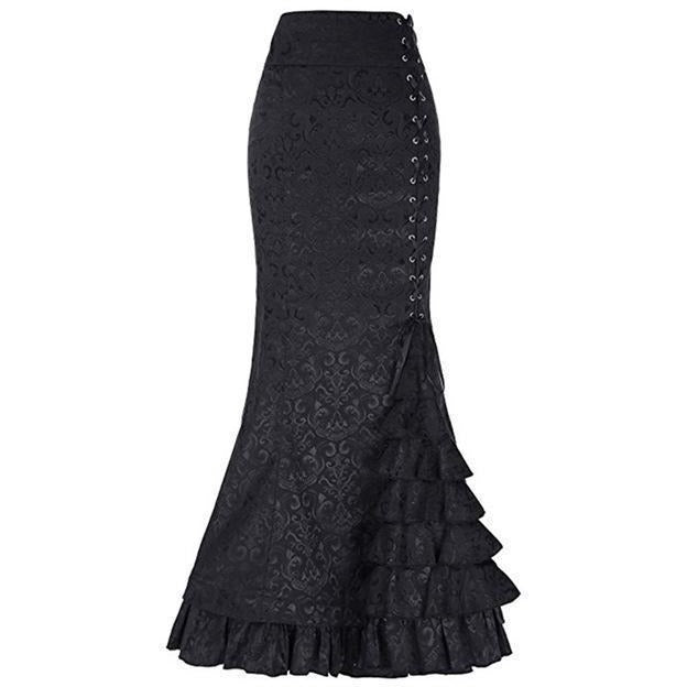 Gothic Lace up High Waist Mermaid Skirt - Skullflow