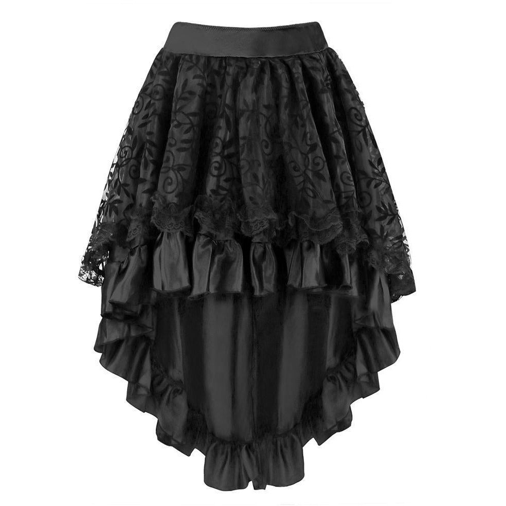 Gothic Floral Lace High Low Skirt with Zipper - Skullflow