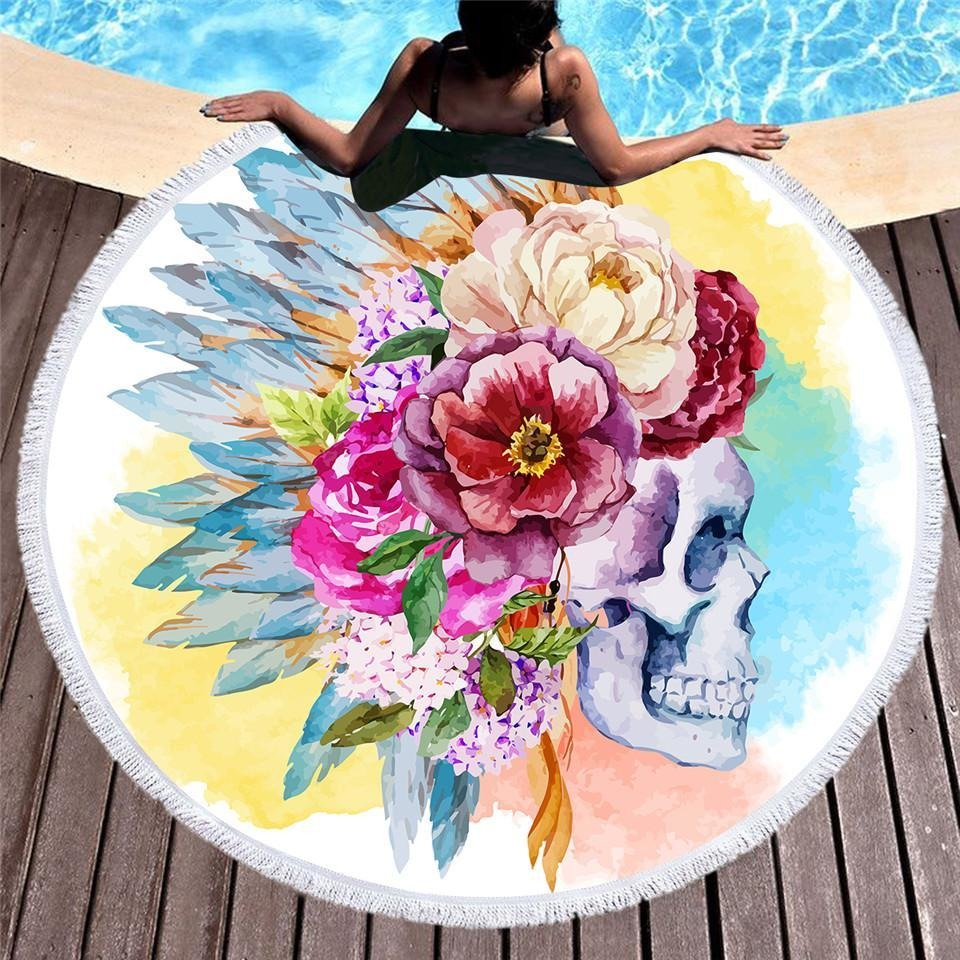 Colorful Skull Round Beach Towel Floral Tassel - Skullflow