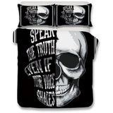 3D Skull Bedding Set Speak The Truth - Skullflow