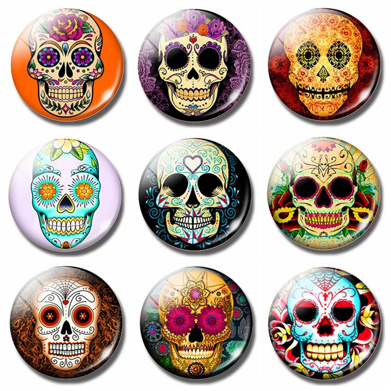 Cartoon Skull 30 MM Fridge Magnet Steampunk Style - Skullflow