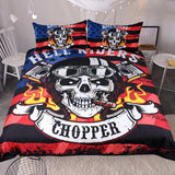 Fire Skull Bedding Set Chopper Printed - Skullflow