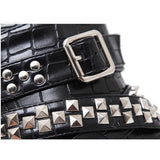 Gothic Metal Chains Rivet Motorcycle Boots - Skullflow