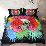 Floral Skull Splash Watercolor Bedding Set - Skullflow