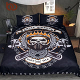 Mechanical Skull Bedding Set Gears Printed - Skullflow