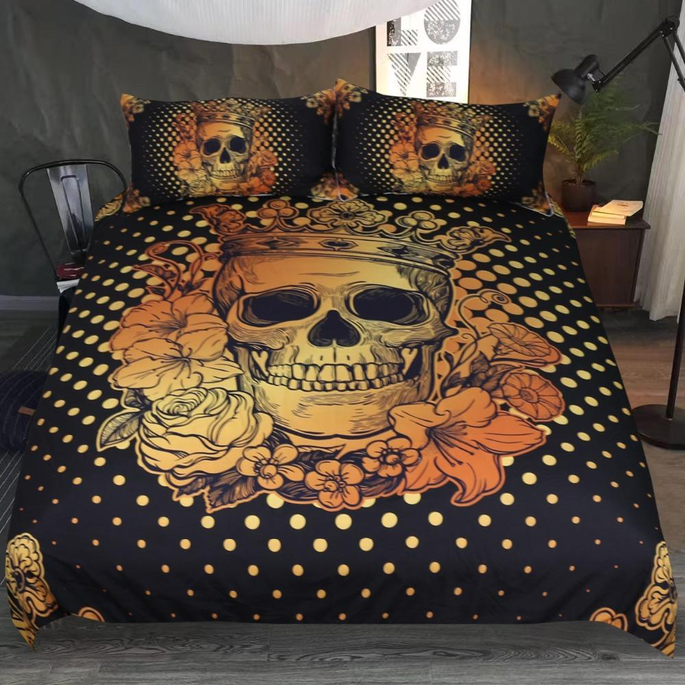 Sugar Skull Queen Bedding Set Floral Golden - Skullflow