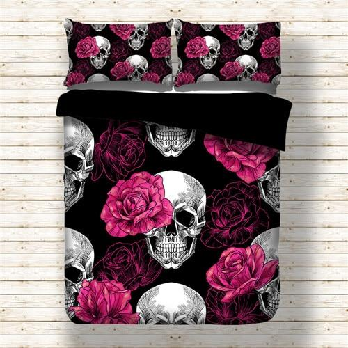 Rose Skull Black Duvet Bedding Set - Skullflow