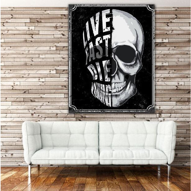 Black And White Skull Wall Art - Skullflow