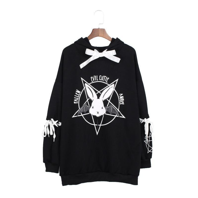 Pentagram Lace Up Women Fleeces Hoodies - Skullflow