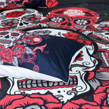 Red Rose Skull Bedding Set 3D Printing - Skullflow