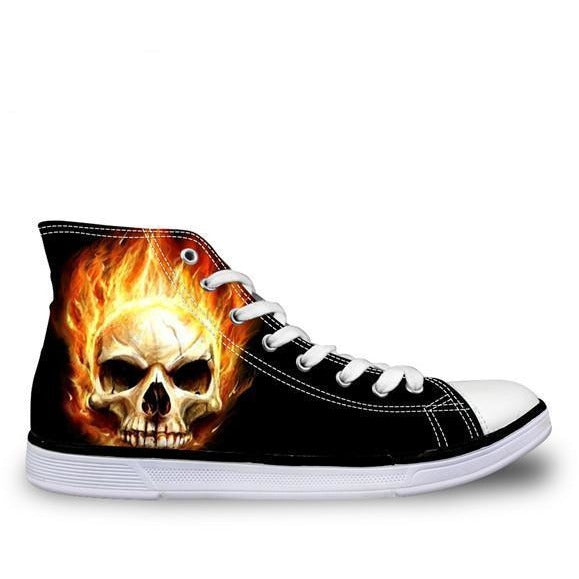 Lace-Up High Top Canvas Skull Shoes - Skullflow
