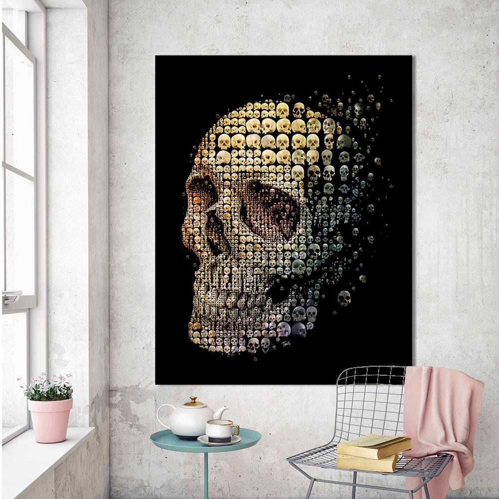 Canvas Wall Art Pictures Painting Skull Evolution - Skullflow