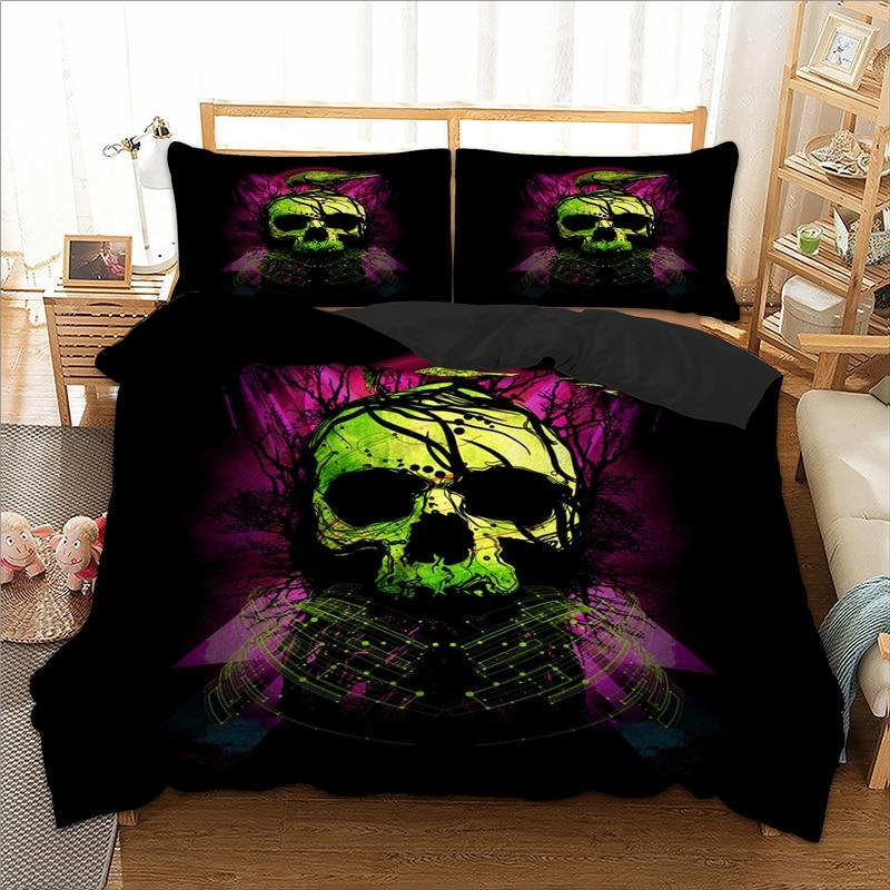 Green Skull Bird Duvet Cover Bedding Set - Skullflow