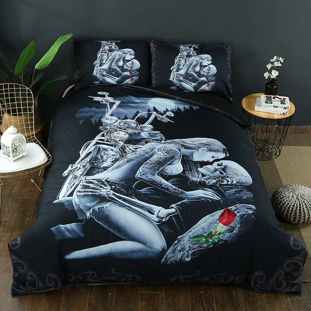 3D Ride Die Bedding Set Halley Motorcycle - Skullflow