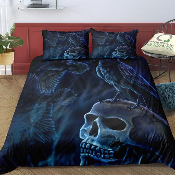 3D Crow and Skull Black Bedding Set