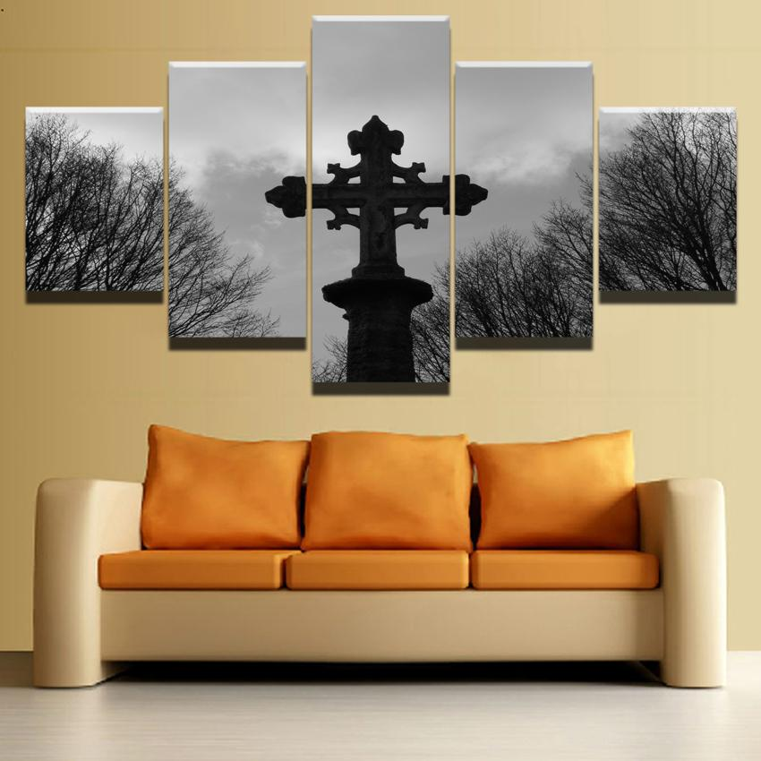Religious Cross Celtic Gothic Wall Art - Skullflow
