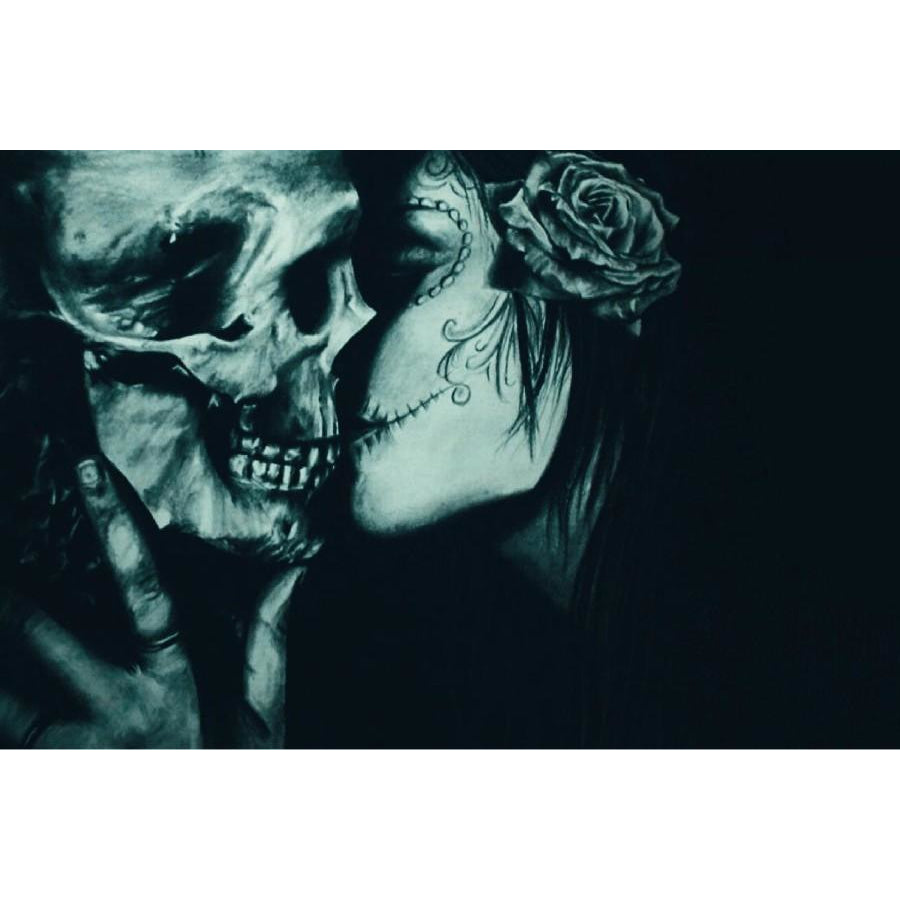 Skull Kiss Wall Art Gothic Fantasy Artwork - Skullflow