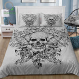 Terror Black and white Skull Bedding Set - Skullflow