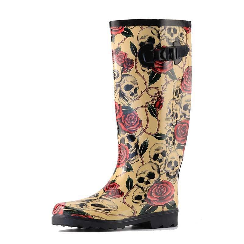 Rose Skull Rubber Boots