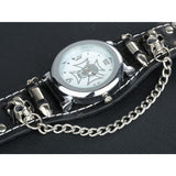 Gothic Watch Leather Military Skull Sports Men's Quartz - Skullflow
