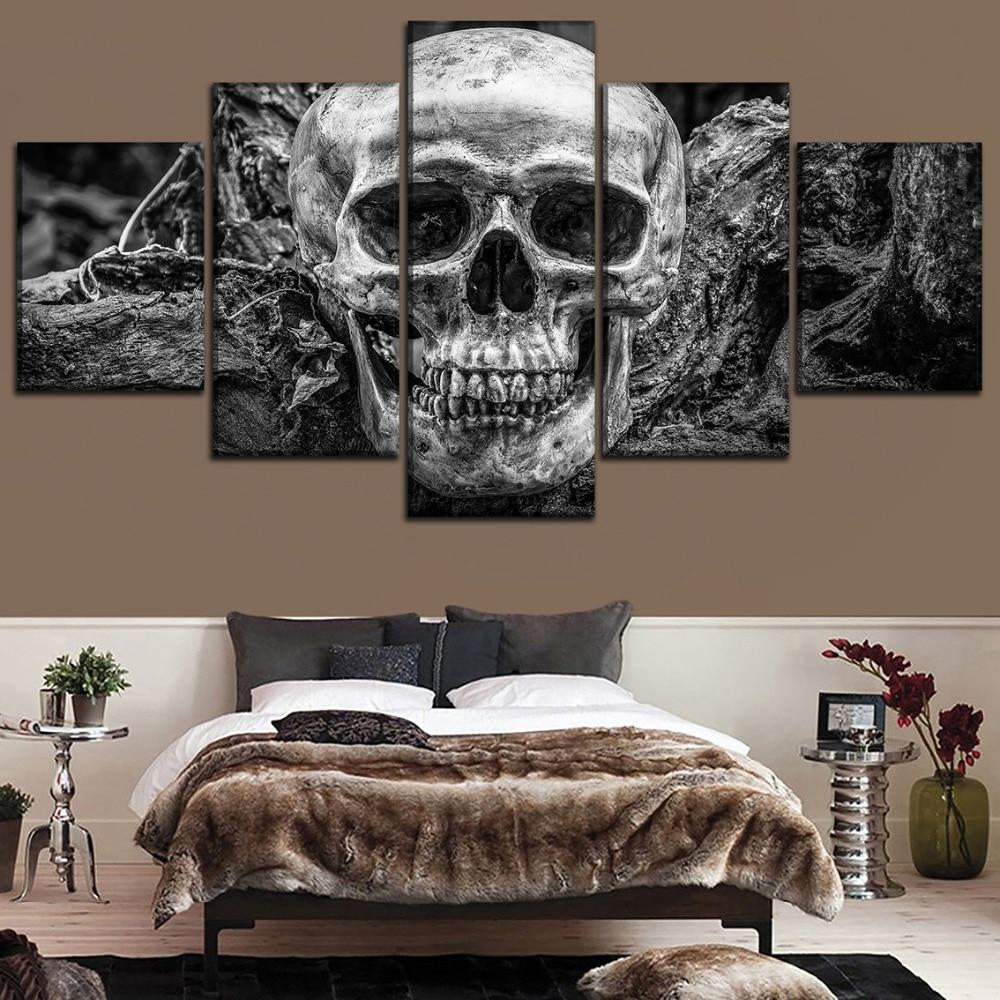 Modern 5 Panel Abstract Skull Canvas Wall Art