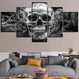 Modern 5 Panel Abstract Skull Canvas Wall Art - Skullflow