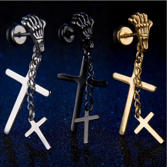 Skeleton Dangling Cross Stud Earring - Skullflow