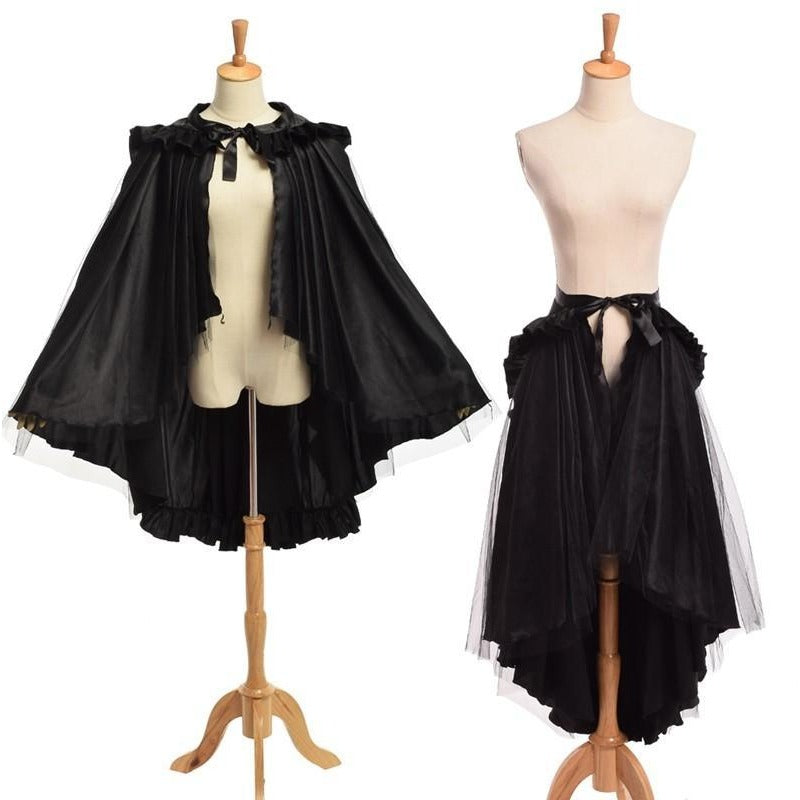 2 Ways Dressing Gothic Skirt/Cape - Skullflow