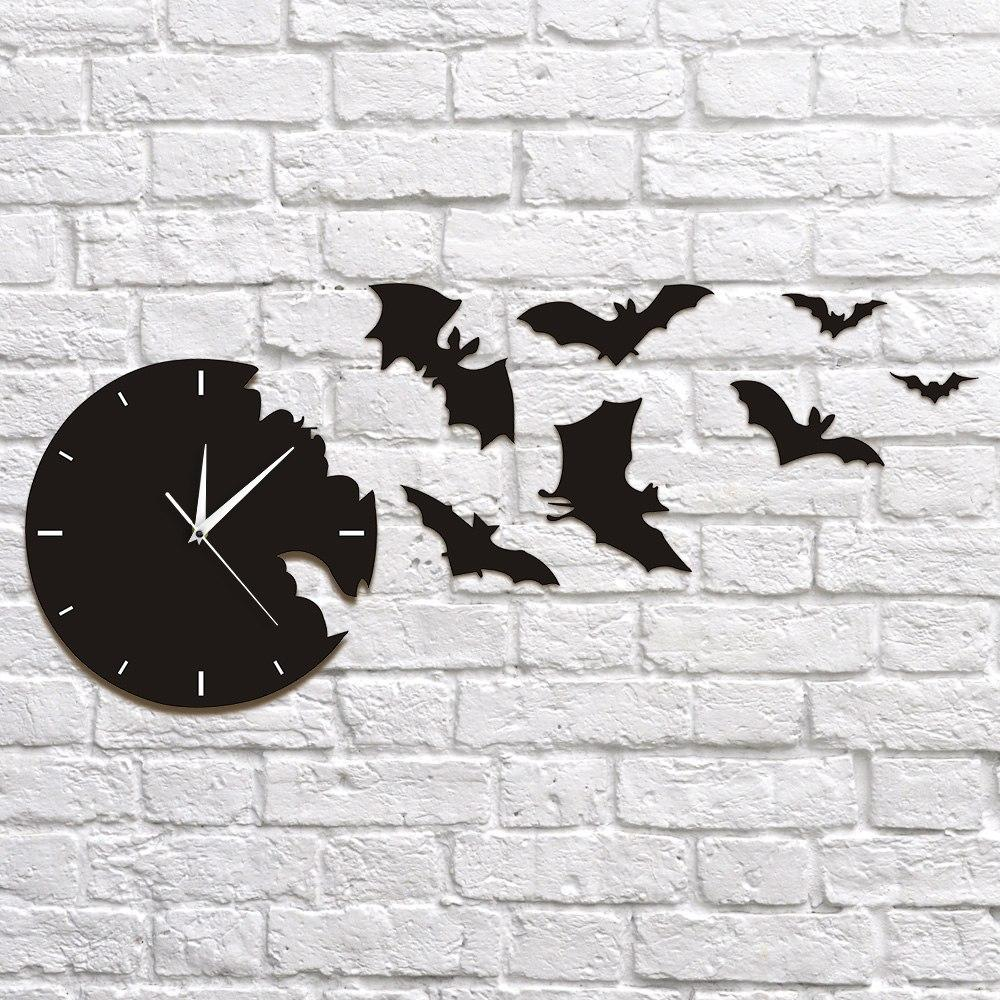 Contemporary Bat Wall Clock - Skullflow