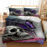 3D Butterfly Skull Bedding Set - Skullflow