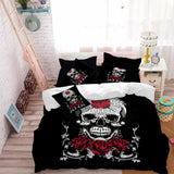 3Pcs Sugar Skull Bedding Set with Rose Print - Skullflow