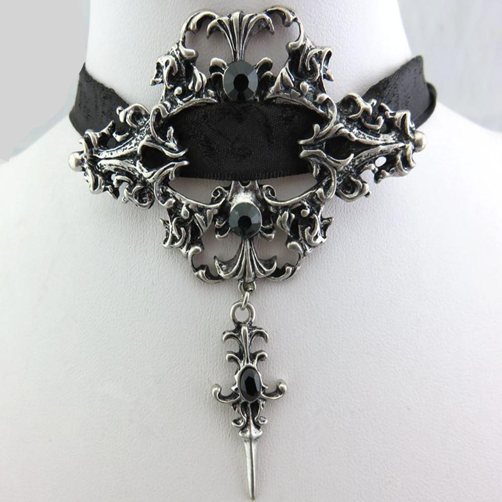Sexy Gothic Black Lace Pendant Choker - Skullflow