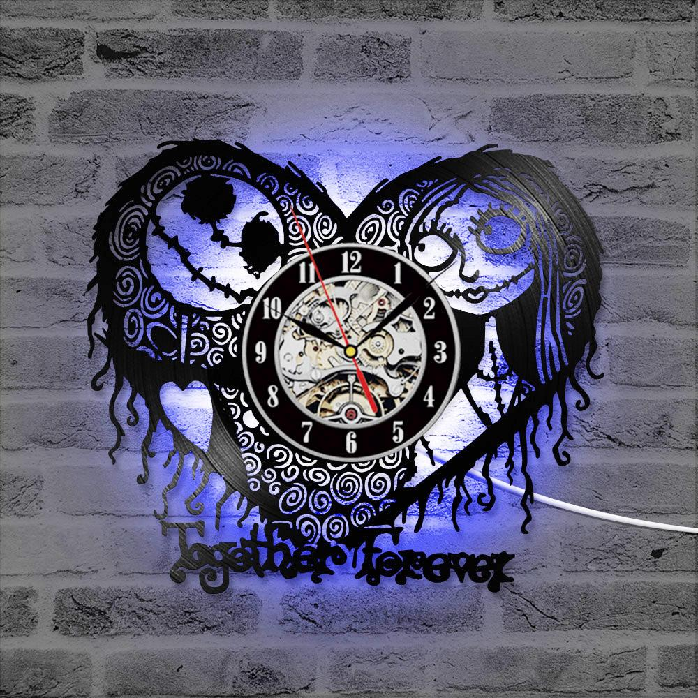 Nightmare Before Christmas Heart Pattern Vinyl Record Clock CD Record LED Clock - Skullflow