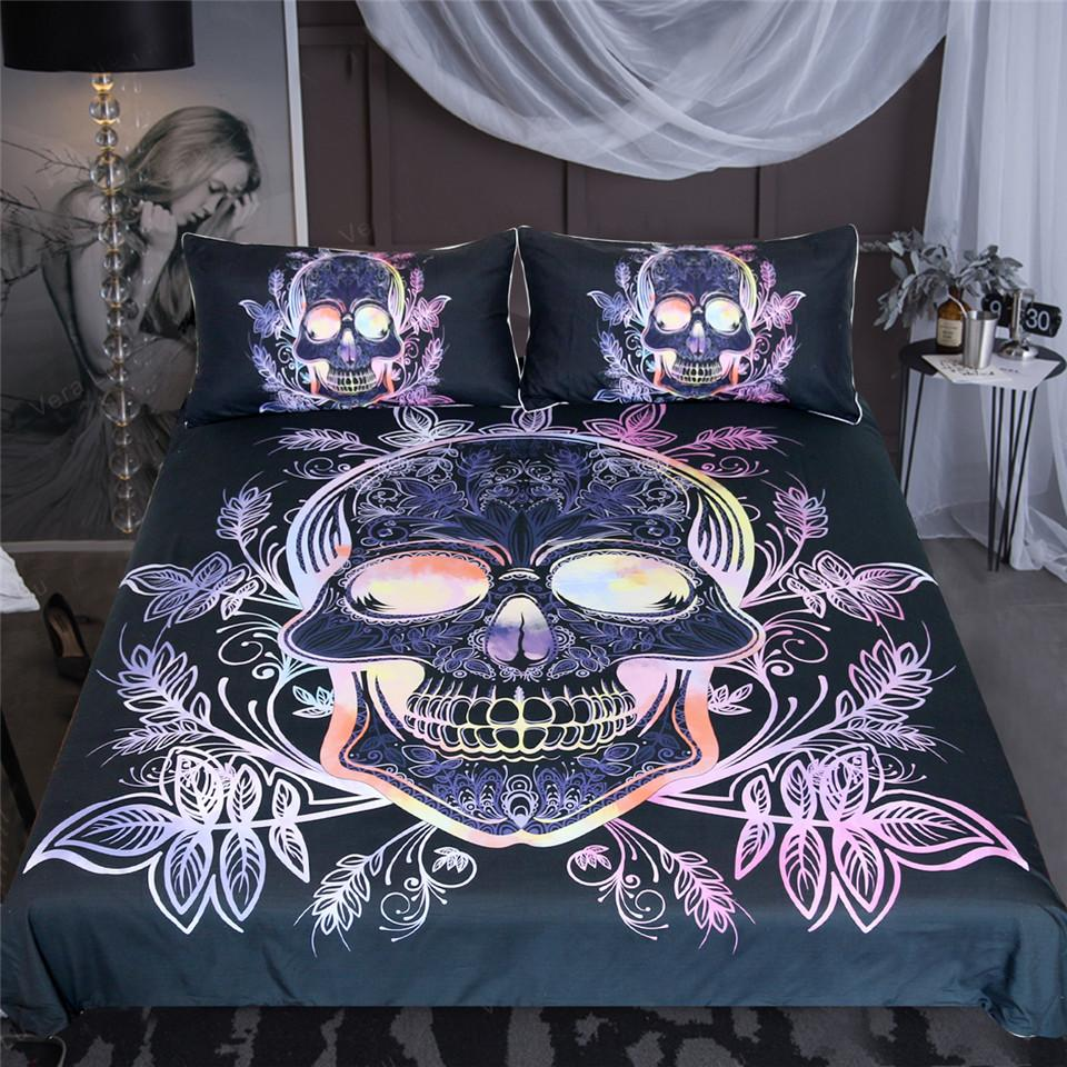 Gothic Skull Leaves Paisley Pink Purple Bedding Set - Skullflow