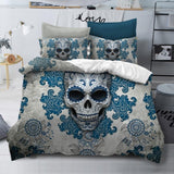 3Pcs 3D Skull Blue Flowers Bedding Set - Skullflow