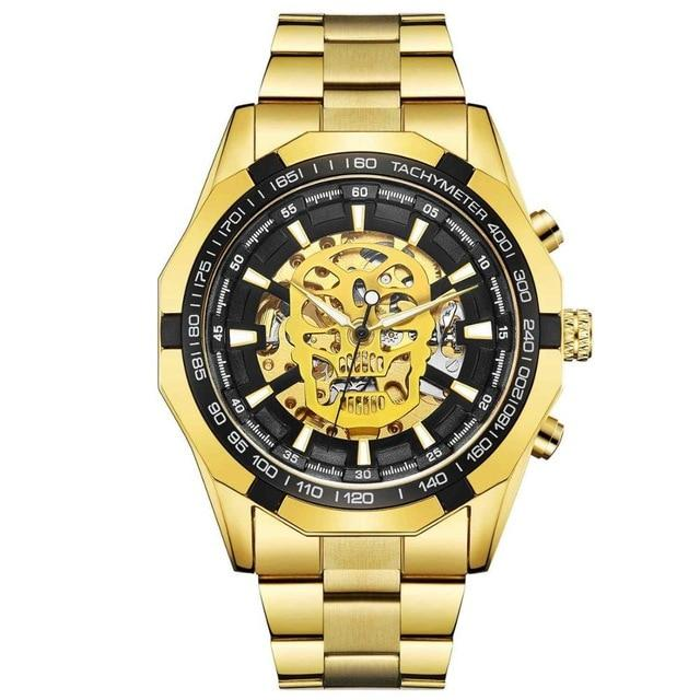 Luxury Golden Steampunk Skull Automatic Self Wind Wristwatch - Skullflow