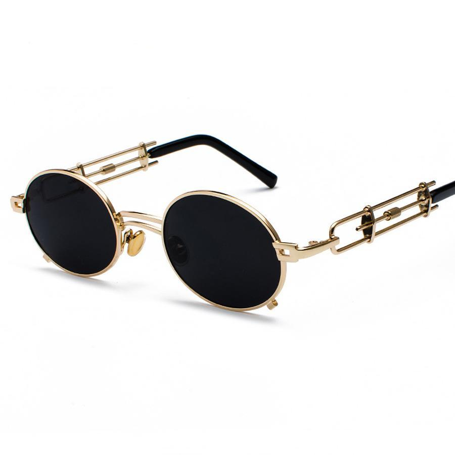 Metal Oval Frame Steampunk Sun Glasses - Skullflow