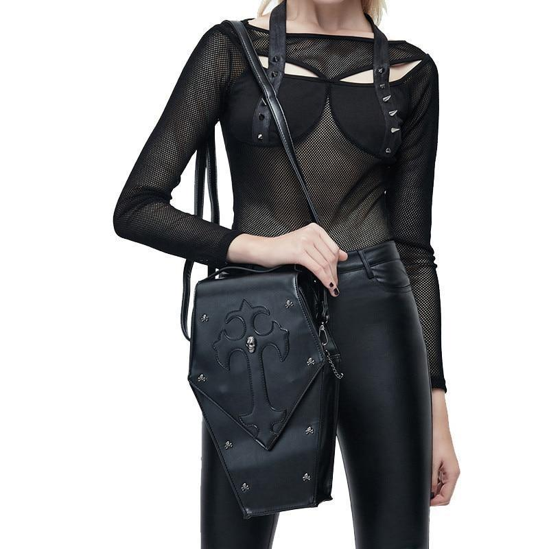 Retro Gothic Leather Crossbody Bag