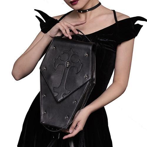 Retro Gothic Leather Crossbody Bag - Skullflow