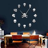 DIY Giant Skull Head Vinyl Wall Clock - Skullflow