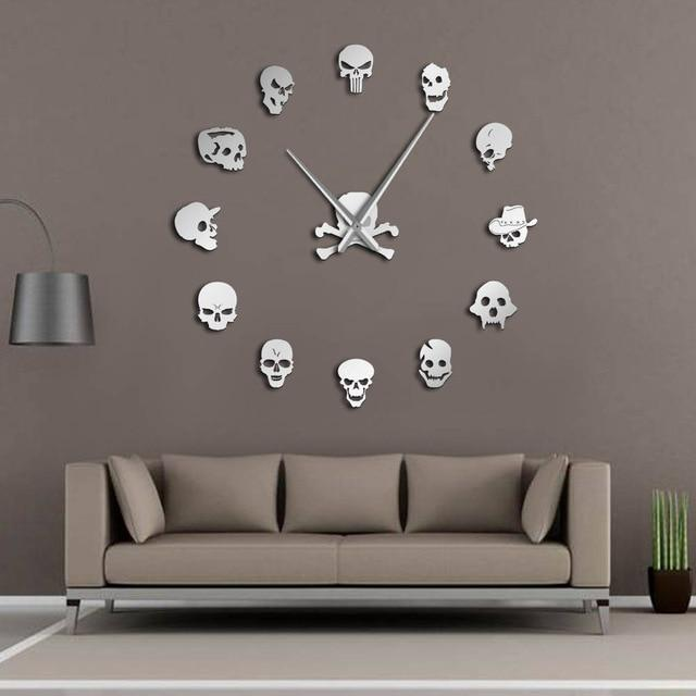 DIY Giant Skull Head Vinyl Wall Clock