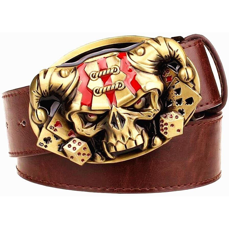 Joker Clown Skull Metal Buckle Leather Belt - Skullflow