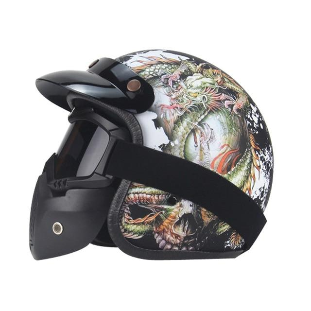 Dragon Skull Helmet With Full Face Goggles - Skullflow
