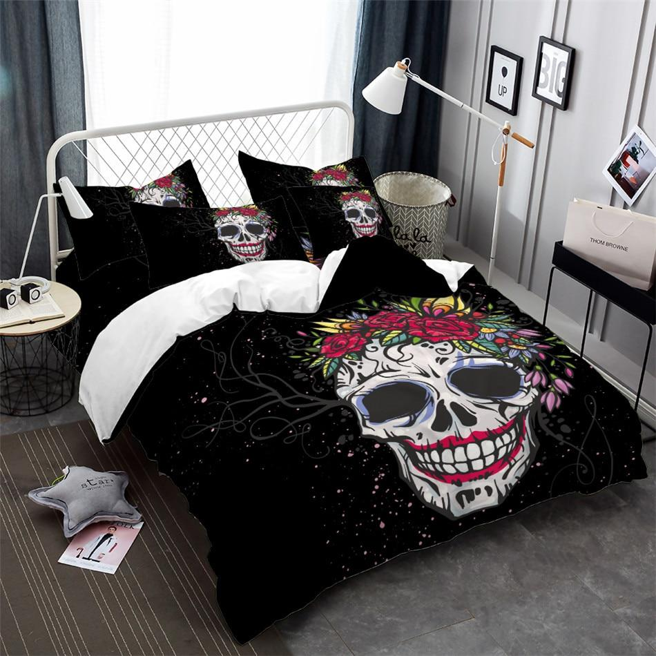 Floral Sugar Skull Bedding Set - Skullflow