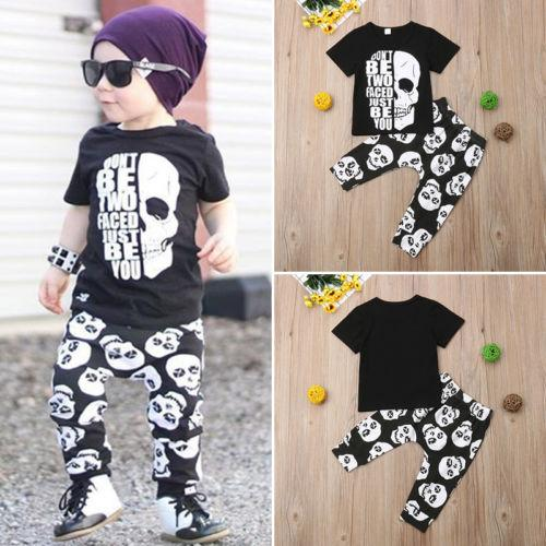 Black Skull Face Letter Tops with Skull Harem Pants - Skullflow